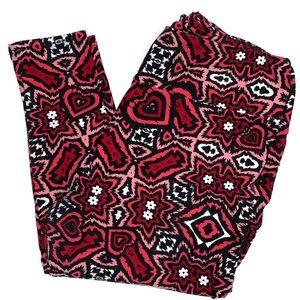 Lularoe Leggings Tall Curvy Black Red Pink Hearts